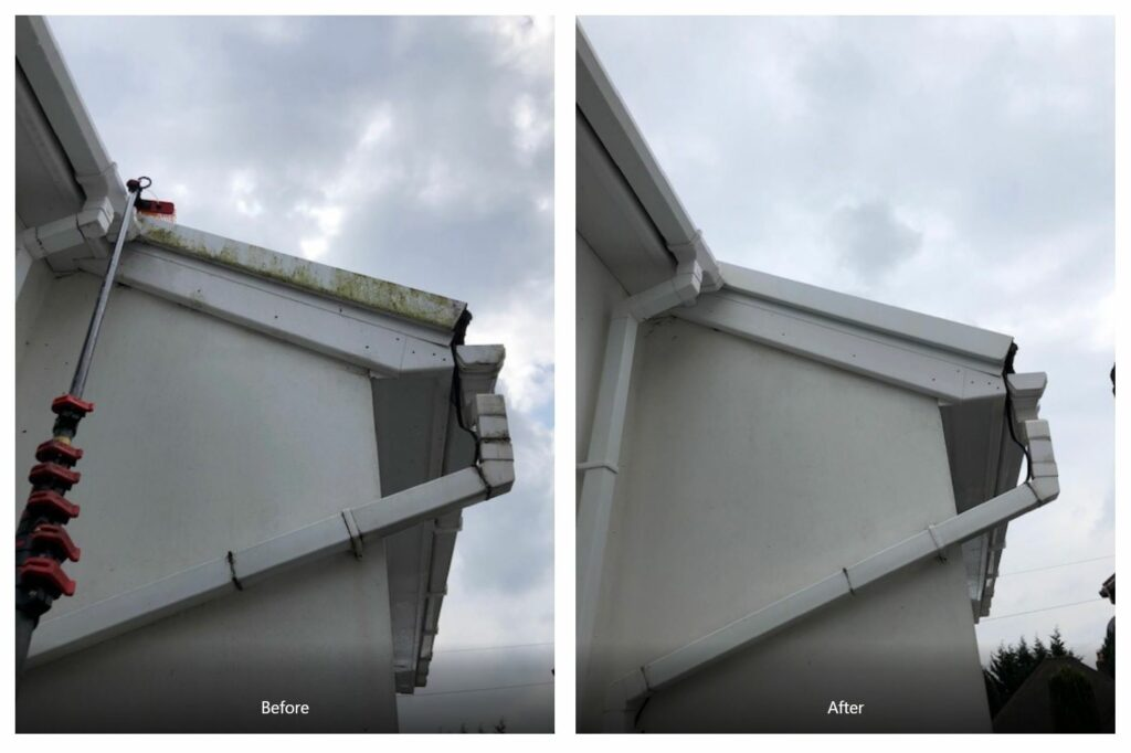 Gutters cleaning before after
